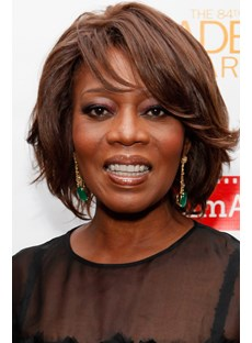Alfre Woodard Hairstyle Stylish Flawless Short Wavy Lace Wig 100% Real Human Hair Wig 8 Inches