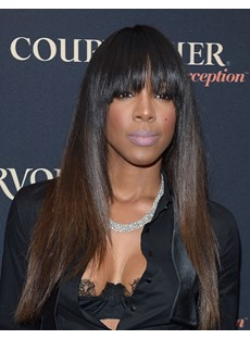 Kelly Rowland Hairstyle Elegant Pretty Long Straight 100% Real Human Hair Wig 20 Inches