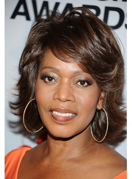 Alfre Woodard Short Hairstyle Elegant Natural Short Wavy 100% Real Human Hair Wig 8 Inches