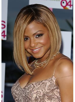 Christina Milian Bob Hairstyle Cheap Two-Tone Look Lace Front Wig 100% Real Human Hair 10 Inches