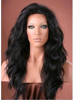 Affordable Free Style Long Wavy Black Cheap Heat Resistant Synthetic Lace Wigs 22 Inches