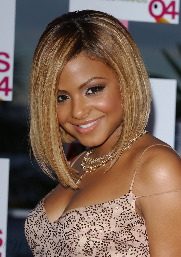 Christina Milian Bob Hairstyle Cheap Two Tone Look Lace Front Wig