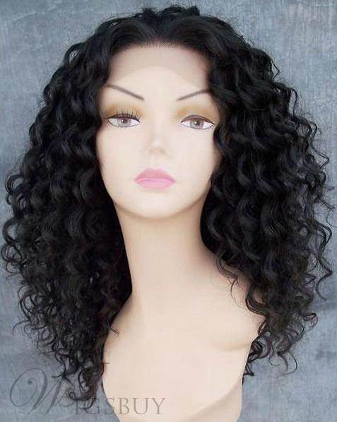 Handcrafted Custom Afro Hairstyle Long Small Curly Full Lace Black Wigs 100% Human Hair 20 Inches