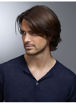 Men's Short Layered Hairstyle Wavy Human Hair Wigs Side Parting Full Lace Wigs