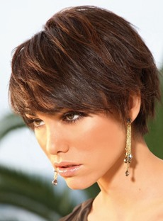 Popular Smart Short Layered Straight 100% Indian Human Hair Wig