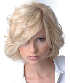 Vintage Top Quality Glamour Short Layered Wavy 100% Real Human Hair Wig 10 Inches