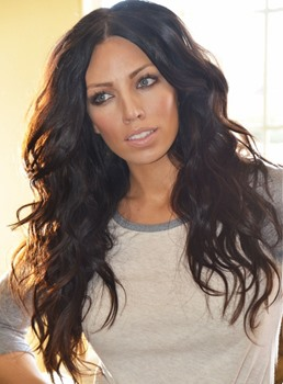 Human Hair Long Wavy Black Layered Lace Front Wigs