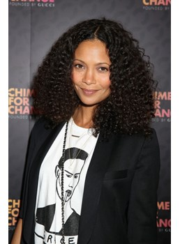 Thandie Newton Smooth Polished Medium Curly Lace Front Wig Synthetic Hair 18 Inches