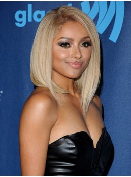 Kat Graham Classic Bob Hairstyle Short Straight Lace Front Wig 100% Real Human Hair Wig 12 Inches