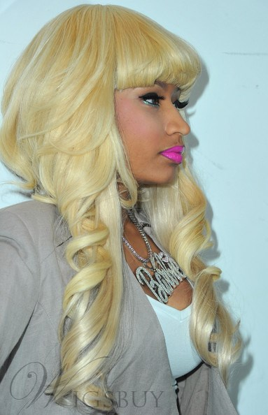 Nicki Minaj Lovely Blonde Polished Fluffy Long Wave Top Quality Synthetic Hair Wig 22 Inches