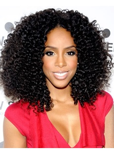 150% Density Professional New Arrival Charming Long Curly Lace Front Wig Synthetic Hair Wig 18 Inches