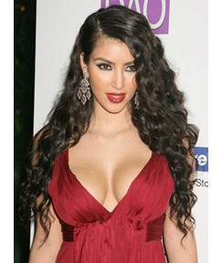 New Fashion Kim Kardashian Hairstyle Long Curly Black Heat Resistant Front Lace Wig 26 Inches