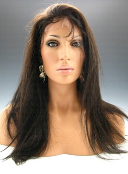 Top Quality Hand Tied Soft Long Straight Glueless Full Lace Wig 100% Indian Remy Hair 20 Inches