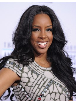 Kelly Rowland Inexpensive Fluffy Long Wavy Lace Front Wig Top Quality Synthetic Hair Wig 18 Inches