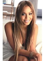 Beyonce Fluffy Long Straight Synthetic Hair Lace Front Wig 26 Inches