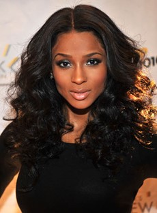 Super Hot Ciara Hairstyle 100% Indian Human Hair 20 Inches Big Curly Black Glueless Lace Front Wig