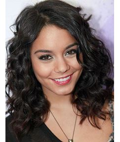 Pretty Vanessa Hudgens Hairstyle Attractive Medium Curly Synthetic Hair Lace Front Wig 14 Inches