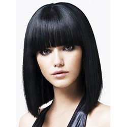 Affordable Impressive Lovely Medium Straight Bob Black Hair Wig 100% Human Hair 12 Inches with Fringe