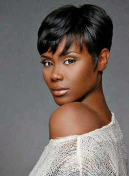 African American Pixie Short Straight Human Hair Capless Wigs 230184793
