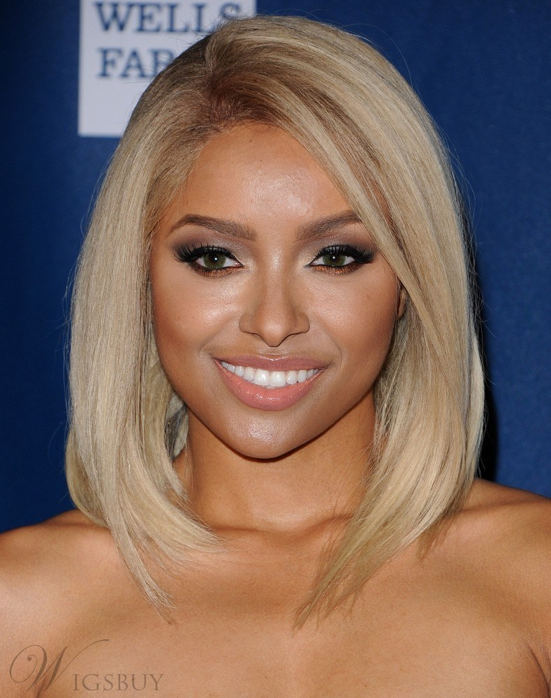 Kat Graham Polished Luxury Gorgeous Medium Straight Synthetic Hair Lace Front Wig 14 Inches