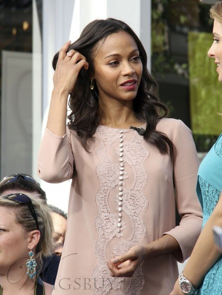 Top Quality Zoe Saldana Long Big Wavy Black Glueless Lace Front Wig 100% Indian Human Hair 18 Inches