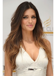 Smart Ombre Long Loose Wavy Lace Front Wig 100% Real Human Hair 20 Inches