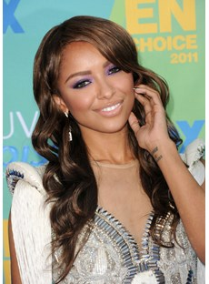 Kat Graham Long Curly Human Hair Lace Front Wigs 20 Inches