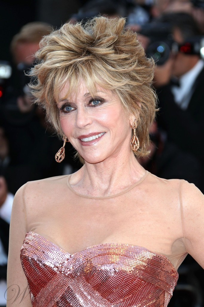 Jane Fonda Mixed Colour Deluxe lovely Short Wavy 100% Real Human Hair Wig 8 Inches