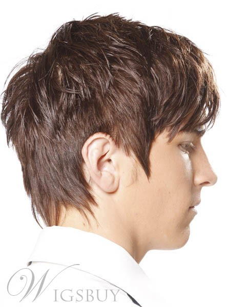 Handsome Cool Mens 100% Indian Human Hair Straight Full Lace Wig