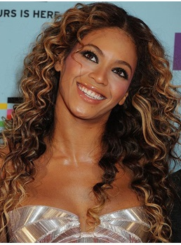 Beyonce Fashion Loose Luxury Long Curly Lace Front Wig 100% Real Human Hair 22 Inches