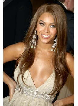 Luxury Graceful Smart Beyonce Long Wavy Lace Front Wig 100% Real Human Hair 22 Inches