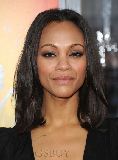 Custom Zoe Saldana Shoulder Length Straight Hairstyle 12 Inches 100% Human Hair Lace Wig