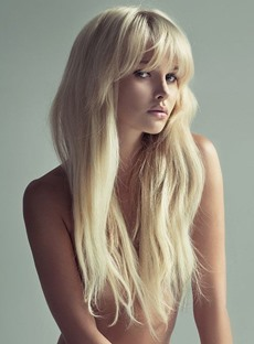 Long Loose Straight With Bangs 100% Human Hair Capless 24 Inches Wigs
