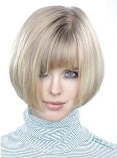 Top Quality Hand-made Soft Short Straight 100% Human Hair Bob Wig with Bang 8 Inches