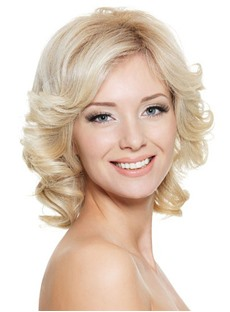 Specialized Hand Tied Medium Curly Blonde Hair Lace Front Wig 100% Remy Human Hair 12 Inches