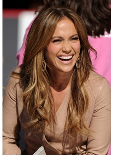 Jennifer Lopez Hairstyle Cheap Fluffy Natural Long Wave Full Lace Wig 100% Human Hair 22 Inches