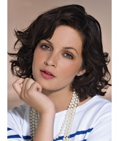 The Free Style Attractive Short Wavy 100% Real Human Hair Lace Wig 10 Inches