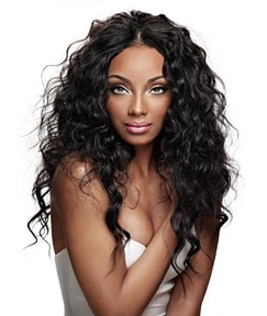African American Hairstyle Long Curly Lace Wig 100% Human Hair 24 Inches