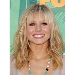 Custom Soft Free Style Custom Kristen Bell Hairstyle Medium Loose Wavy 100% Human Hair 14 Inches