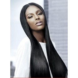 Top Quality Long Straight Black Hair Full Lace Wig 100% Remy Human Hair 24 Inches