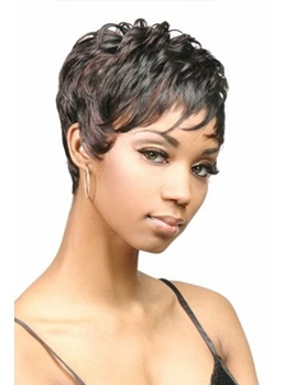 Short Wavy Full Lace Wigs 100% Human Hair for Black Women
