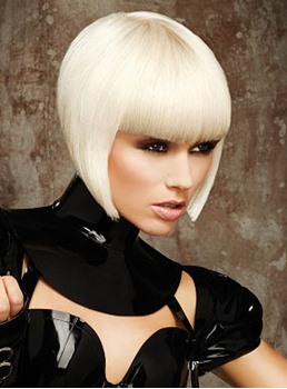 Modern Stylish Short Inverted Bob Hairstyle Cool Straight Bleach Blonde Wig 100% Indian Remy Hair