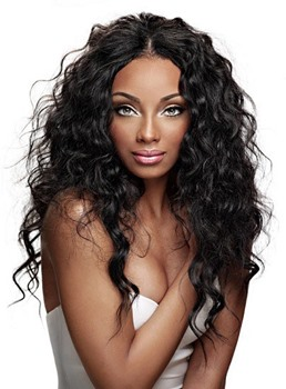 Deluxe Beautiful African American Hairstyle Long Curly Lace Wig 100% Human Hair 24 Inches