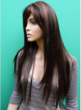 Fascinating Long Silky Straight Heat Resistant Synthetic Wig 24 Inches