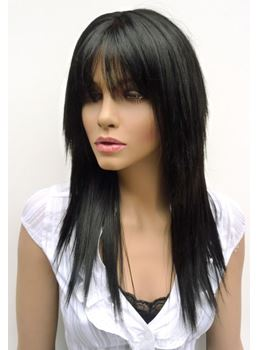 Stylish Layerd Long Silk Straight Black Heat Resistant Synthetic Wig 20 Inches