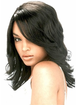 High Quality Beautiful Elegant Medium Wavy Lace Front Wig 100% Human Hair 14 Inches