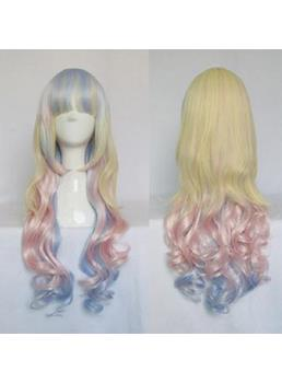 Cute Lolita Hairstyle Yellow Pink Blue Mixed Color Cosplay Wig