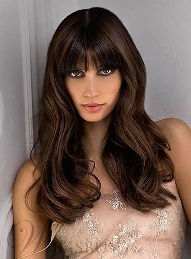 Polished Natural Long Loose Wavy Brown Hair Wig with Full Bang 100% Human Hair 18 Inches