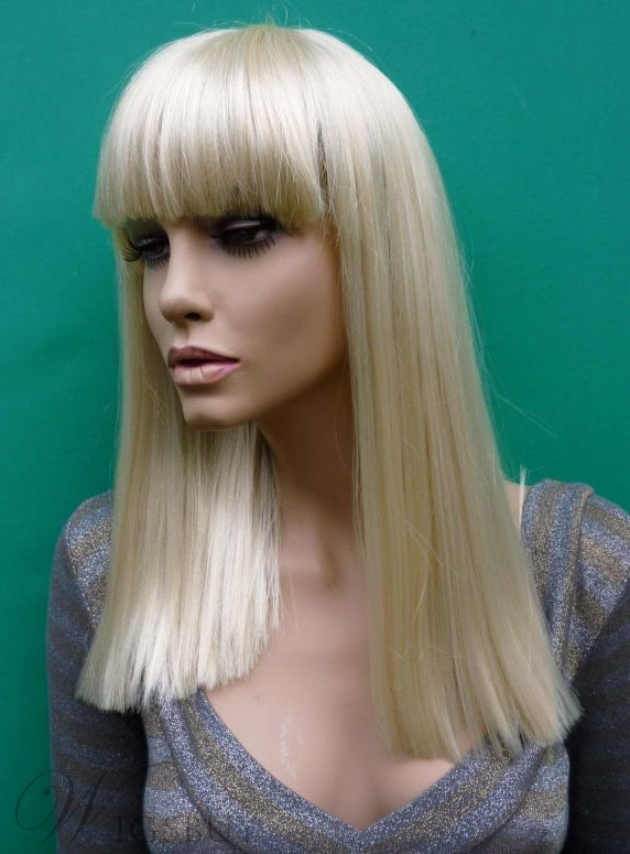 Custom Lady Gaga coiffure soyeuse droite Wig 16 pouces avec Bang complet