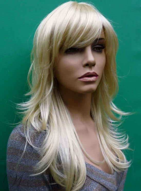 Hot Sale Top Quality Heat Resistant Synthetic Wig 20 Inches Loose Wavy Bleach Blonde